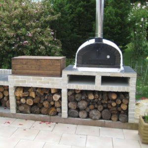 image of wood burning fired pizza oven