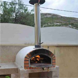 image of wood burning fired brick pizza oven