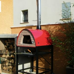 image of wood-burning-pizza-oven-red-maximus-welt-black-stand